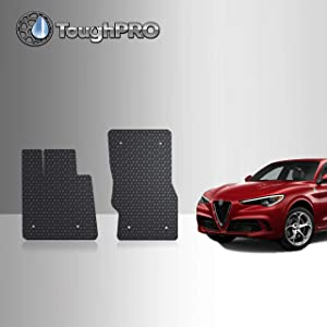 TOUGHPRO Floor Mat Accessories Compatible with Alfa Romeo Stelvio - All Weather - Heavy Duty - (Made in USA) - Black Rubber - 2018, 2019, 2020 (Front Mats)