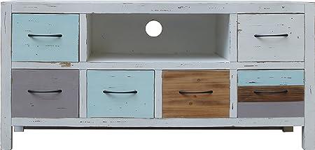 Mueble bajo para televisor de bosque SIT de los muebles de madera de abeto acabado antiguo FSC-Certificado de colour azul y gris de la madera: Amazon.es: Hogar
