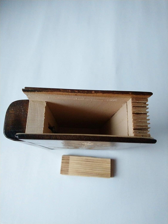 Gro/ße riesige braun magisch geheimnisvolle Zauberer Puzzle Buch Kasten mit Geheimfach innen /Überraschung handgefertigten h/ölzernen versteckten Schmuck Aufbewahrungsbox