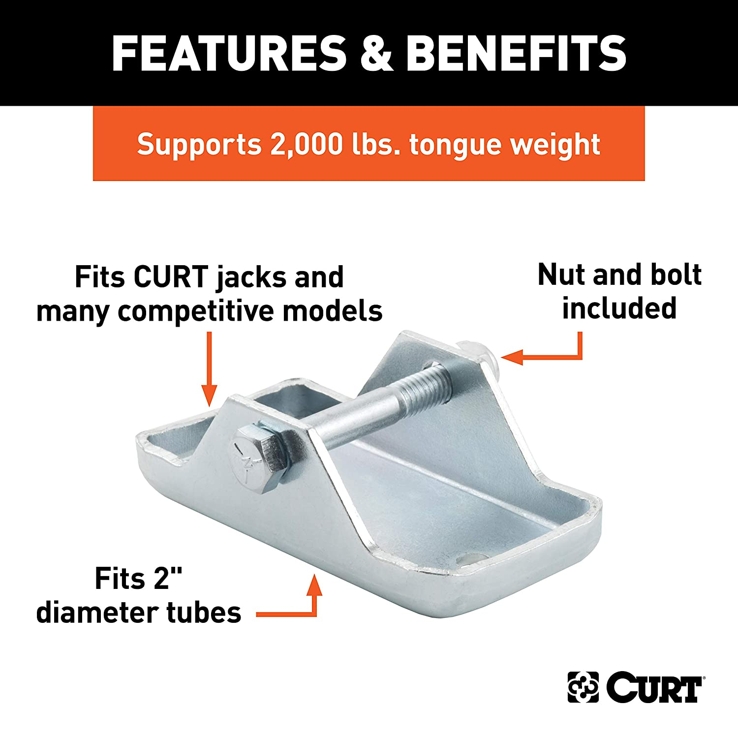 CURT 28271 Trailer Jack Foot Fits 2-Inch Diameter Tube Supports 2,000 lbs.