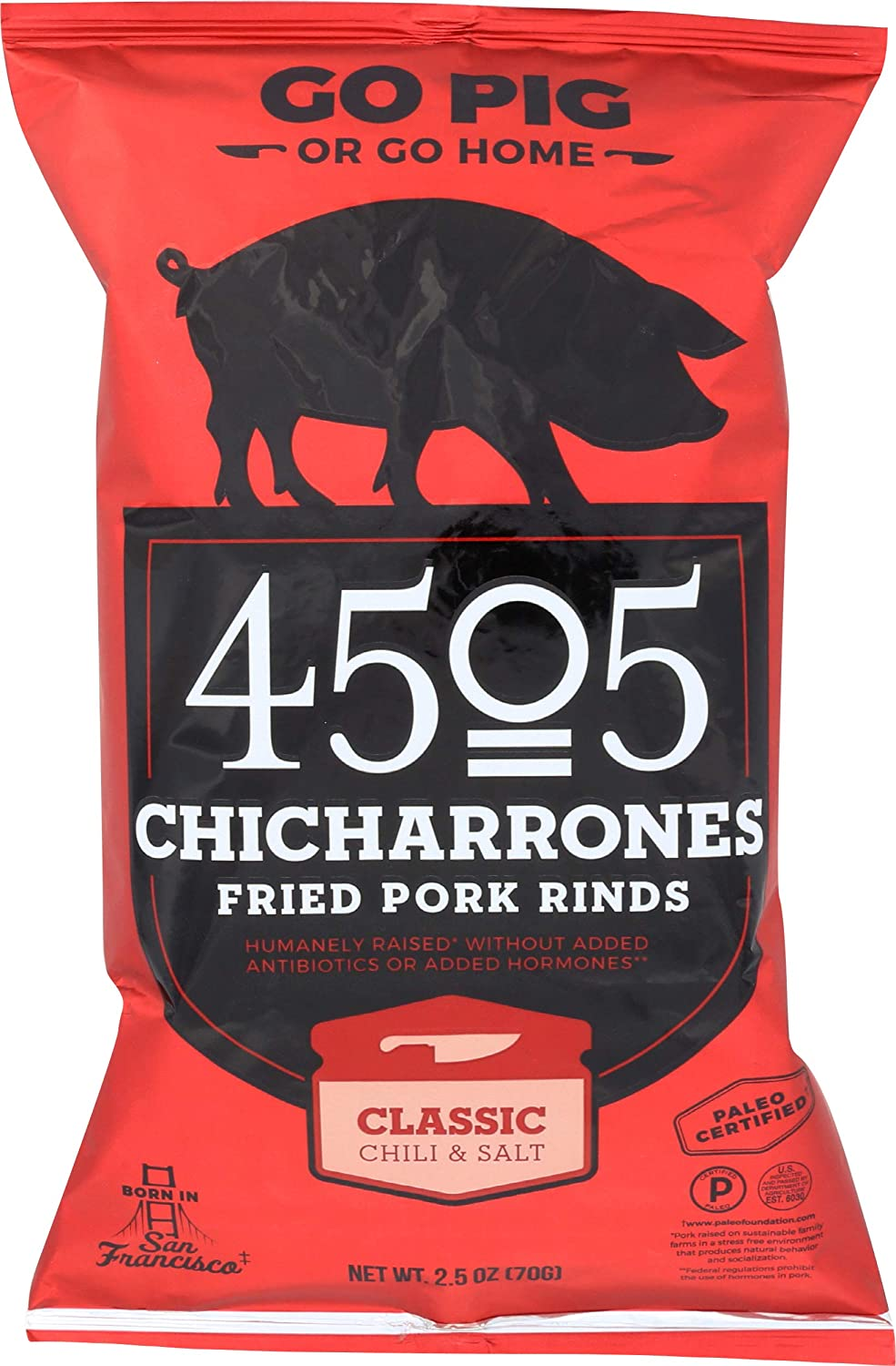 4505 Meats, Chicharrones, Fried Pork Rinds, Classic Chili, 2.5 Ounce