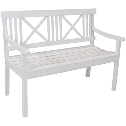 Awesome Sunnydaze 2 Person Outdoor Wooden Garden Bench With X Back Design 47 Inch White Beatyapartments Chair Design Images Beatyapartmentscom