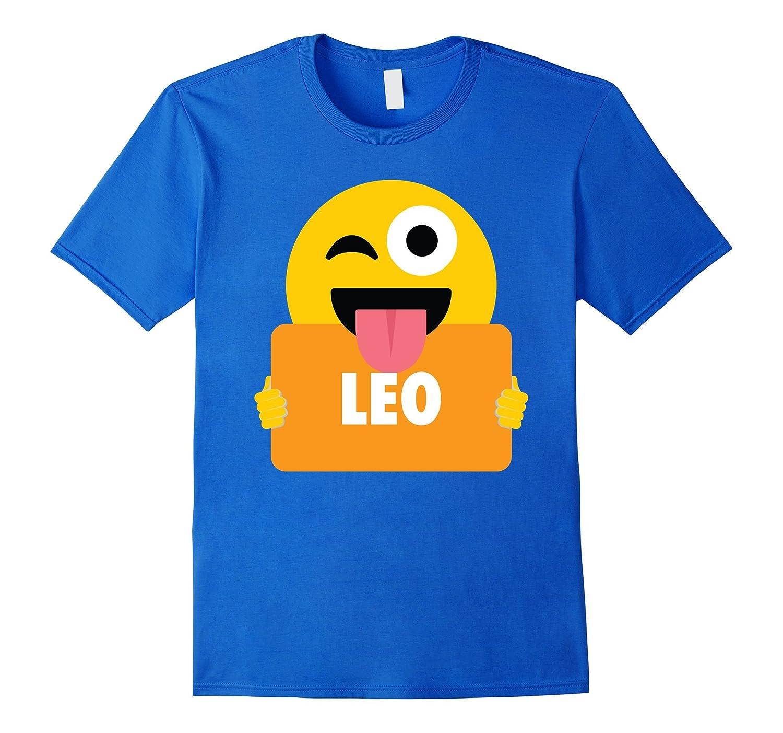 Leo Emoji Wink Shirt T-Shirt Horoscope Tee-FL