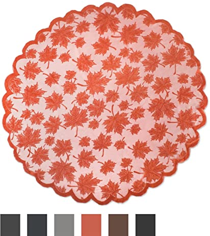 DII 40u0026quot; Round Lace Table Topper, Maple Leaf Orange Spice   Perfect For  Fall