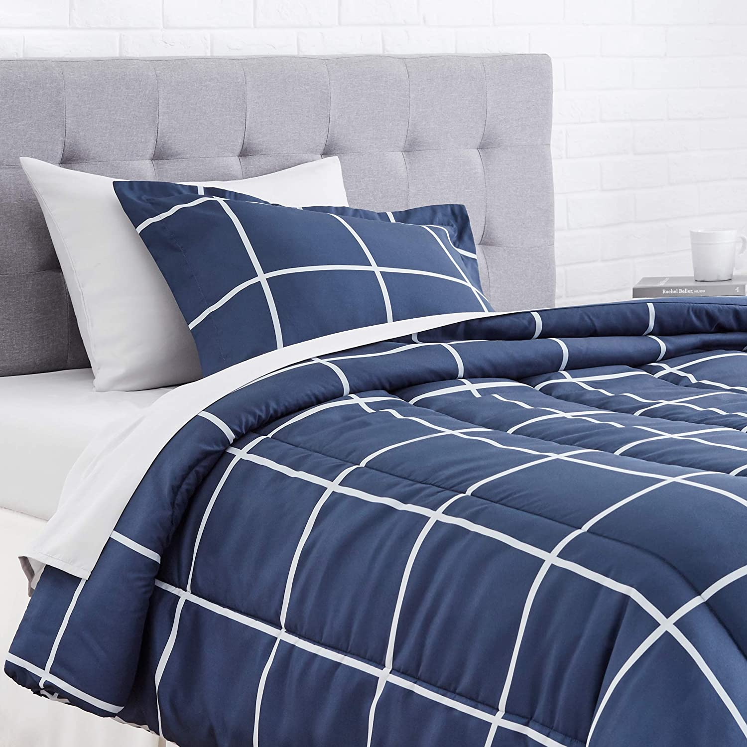 amazon basics 5 piece light weight microfiber bed in a bag comforter bedding set twin navy simple plaid