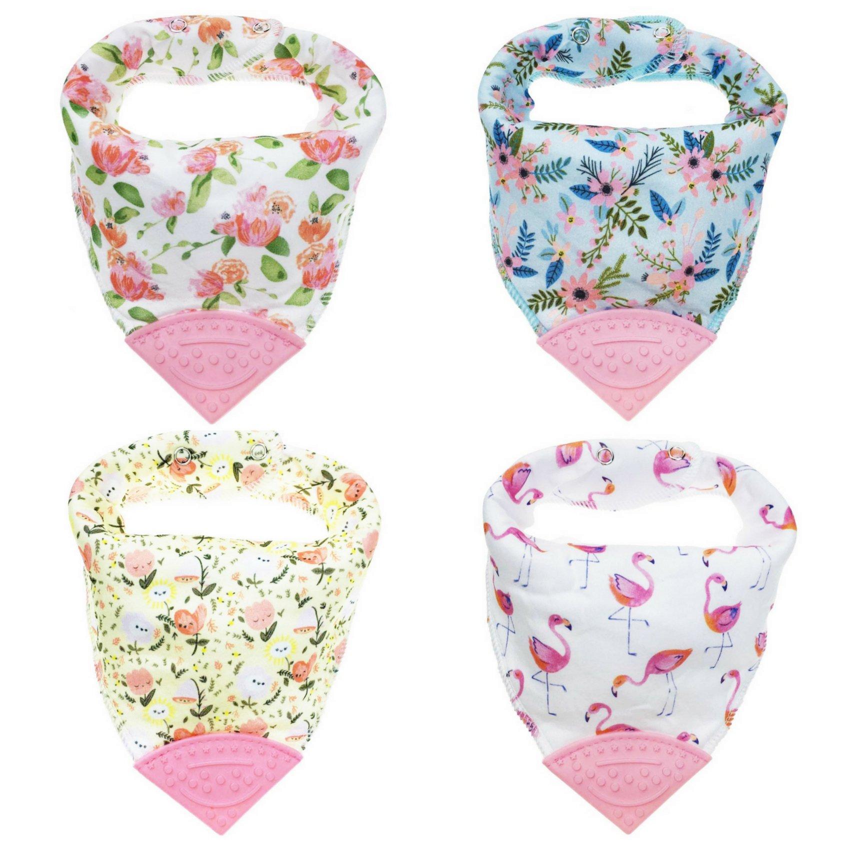 Honey Molly Baby Bandana Bibs for Teething and Drooling - 4 Pack Soft Drool Bibs for Boys and Girls - BPA-Free Food Grade Silicone Teether, Adjustable Nickel-Free Snaps - 100% Organic Cotton