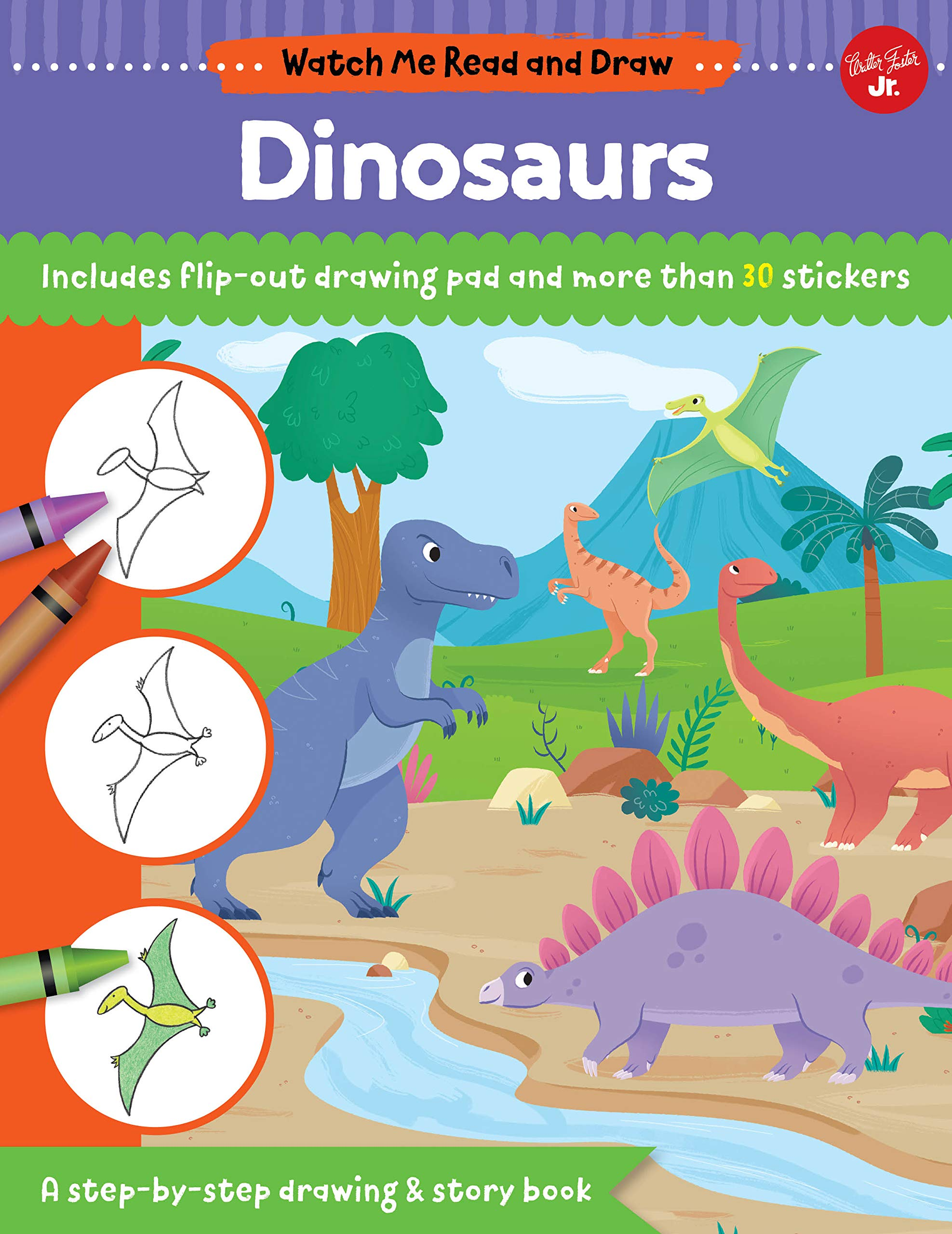 Watch Me Read And Draw Dinosaurs A Step By Step Drawing
