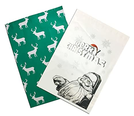 amazon com 10 x 13 santa reindeer flat poly mailers self