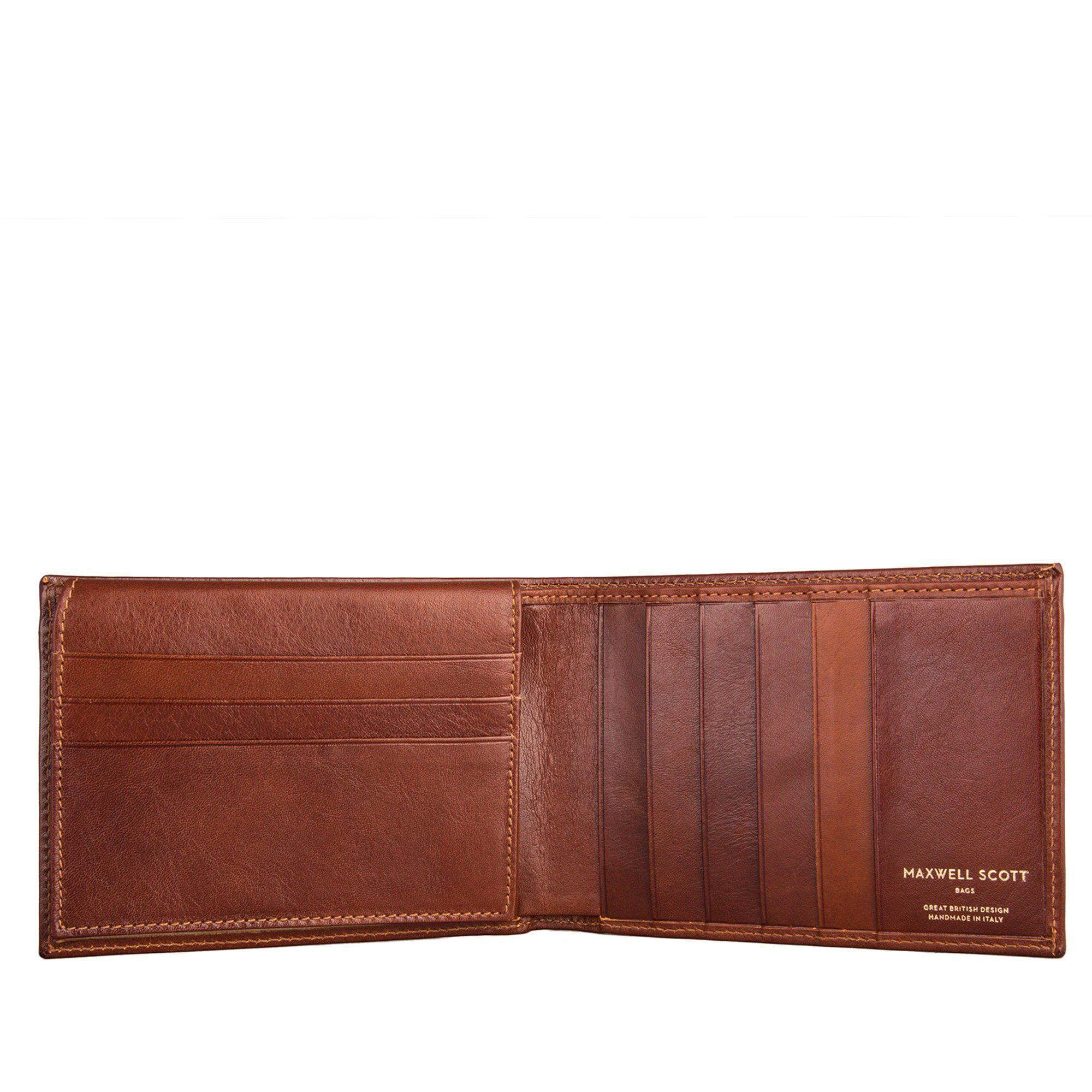 Maxwell Scott® Luxury Tan Leather Tri Fold ID Credit Card Wallet - One Size (The Gallucio)