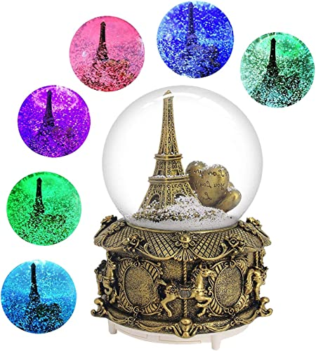 DELIWAY Eiffel Tower Musical Snow Globe with Automatic Snowfall and Colorful Lights, 100mm 6 Tall Souvenirs Collection Gold Tower