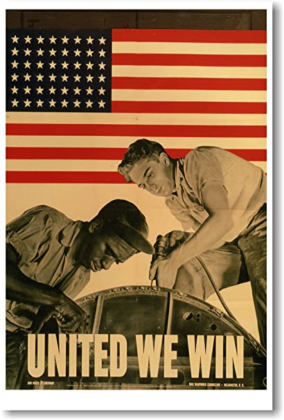 United We Win - Vintage WW2 Reprint Poster by PosterEnvy