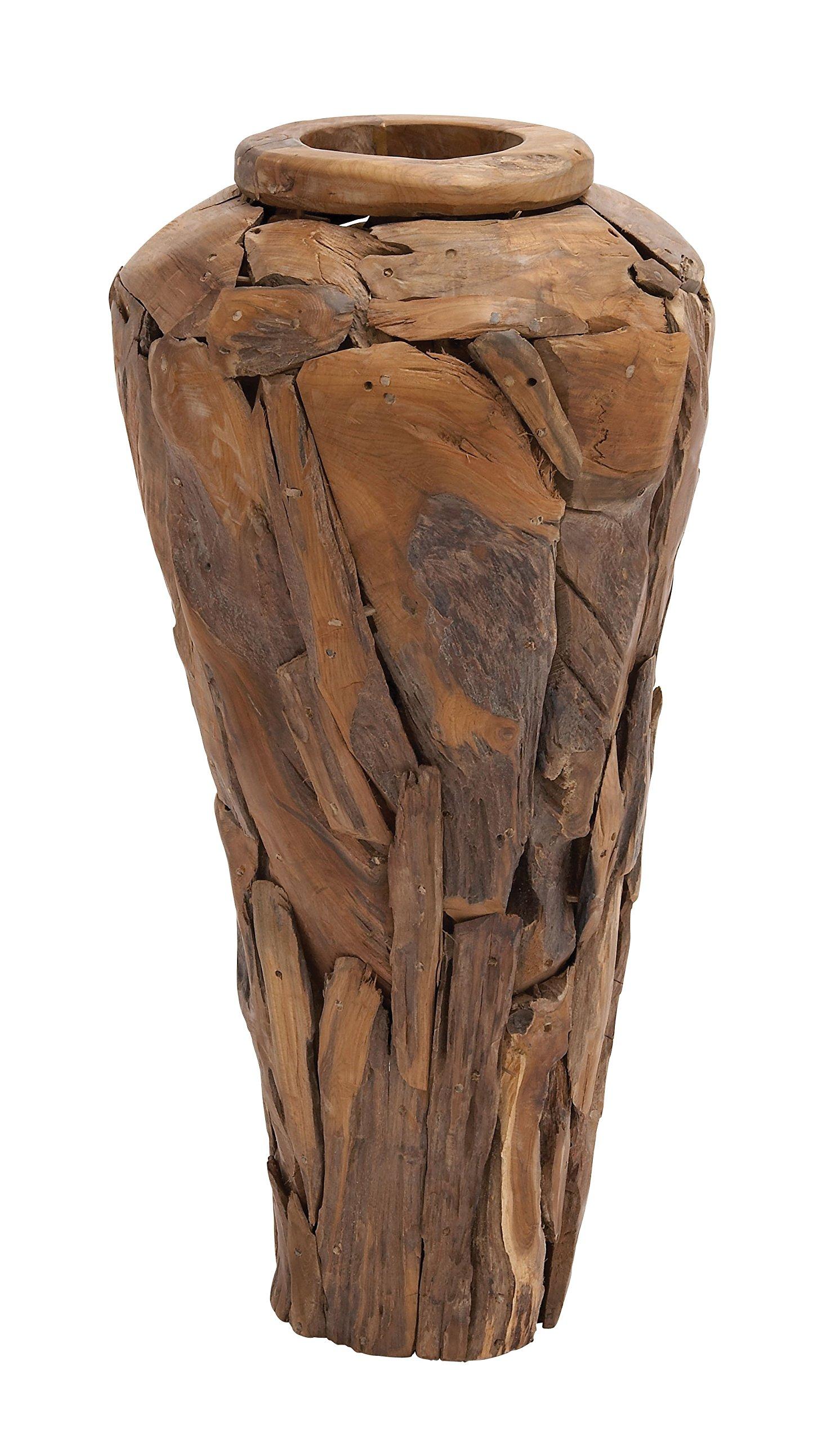 Deco 79 Teak Wood Vase, 19 by 39-Inch