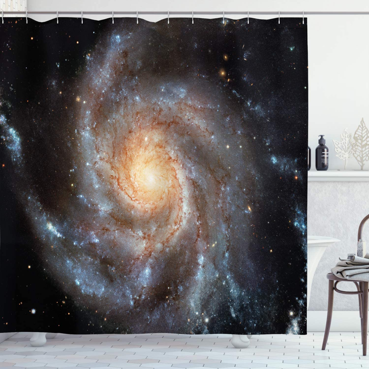 Ambesonne Galaxy Shower Curtain, Stars in Galaxy Spiral Planet Outer Space Nebula Astronomy Theme Image Print, Cloth Fabric Bathroom Decor Set with Hooks, 70