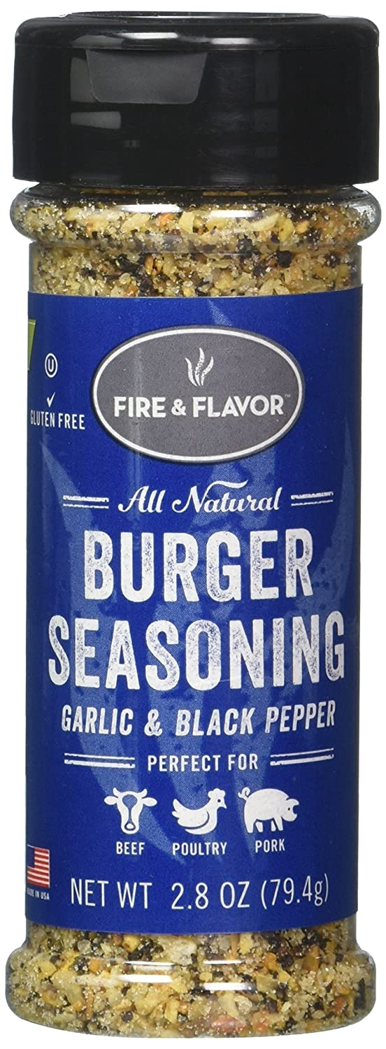 FIRE & FLAVOR Burger Seasoning, Garlic & Black Pepper, 2.8 Ounce