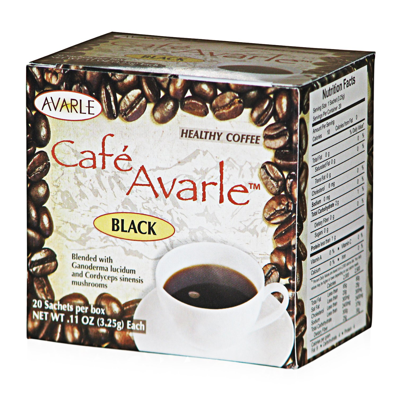 Cafe Avarle Healthy Black Coffee with Ganoderma & Cordyceps - 20 sachets by Avarle