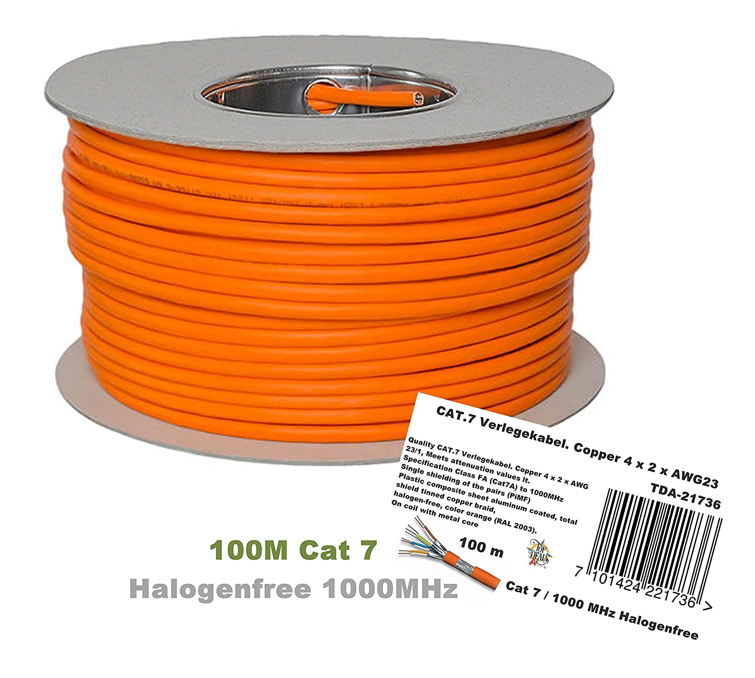 Tda 100m Cat 7 Reel Ethernet Cable Halogen Free Aluminum Or Copper Wiring Electronics