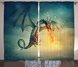Ambesonne Fantasy Curtains, Dragon in The Sky with Flame Fairytale Creature Surreal Design, Living Room Bedroom Window Drapes 2 Panel Set, 108