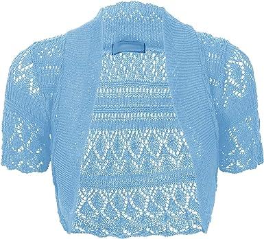 Thever Women Ladies Knitted Short Sleeve Crochet Shrug Bolero Cardigan SZ 8 26