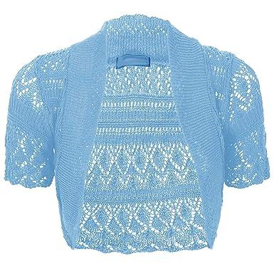 Thever Women Ladies Knitted Short Sleeve Crochet Shrug Bolero