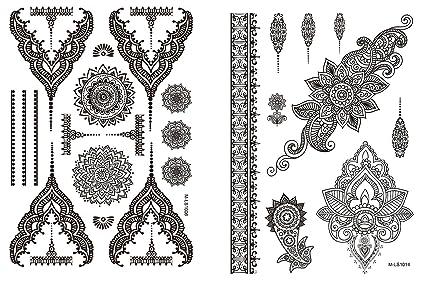 Mandala Punta Tattoo Negro 2 Unidades Mandala pulseras joyas ...