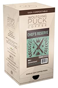 Wolfgang Puck Soft Coffee Pods, Chef's Reserve Gram Coffee, 9.5 Gram, 6 x 18 Count