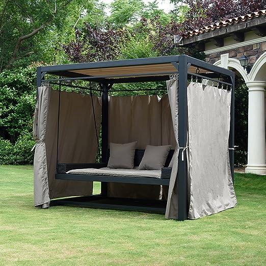 Home Deluxe – Tumbona Carpa Provence – Tumbona de ratán flotante con cortinas con cierre, columpio de jardín, doble tumbona de jardín, carpa: Amazon.es: Hogar