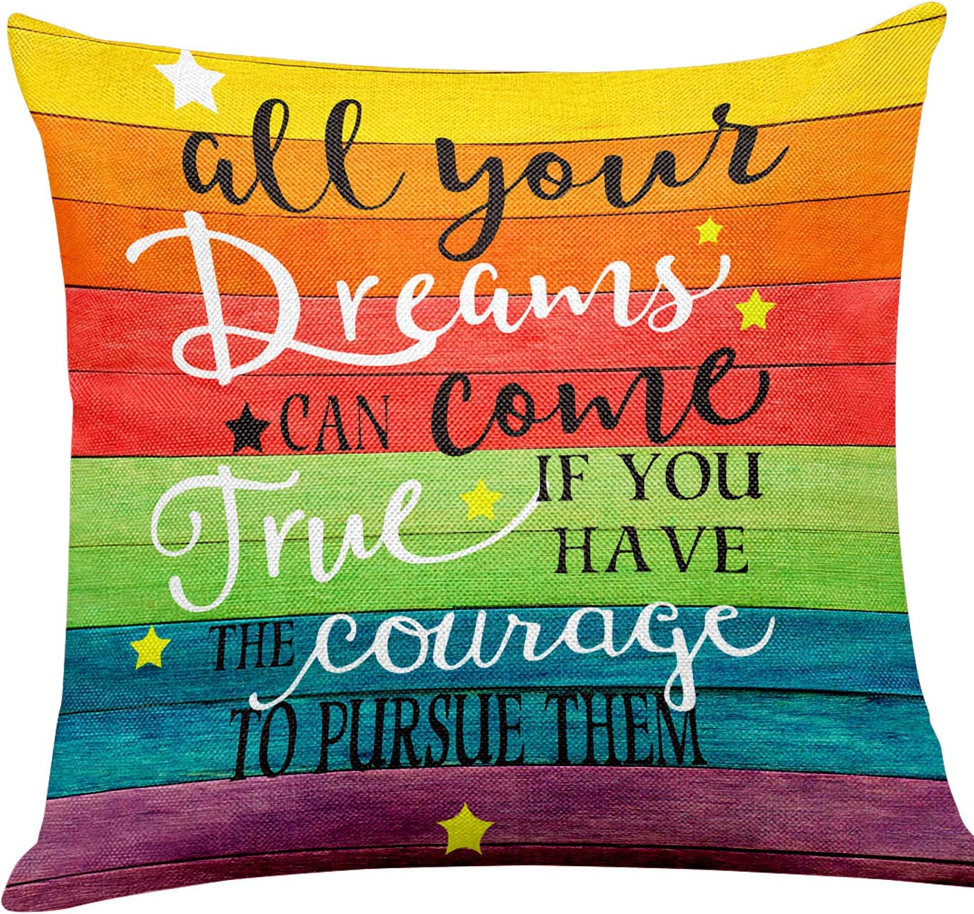 """yuzi-n """"All Your Dreams Can Come True"""" Inspirational Quote Pillow Covers, Inspirational Gifts Pillow Covers for Kids Girl Sister mom Women, Office Teen Boy Girl Room Sofa Couch Decor 18 x 18 Inch"""