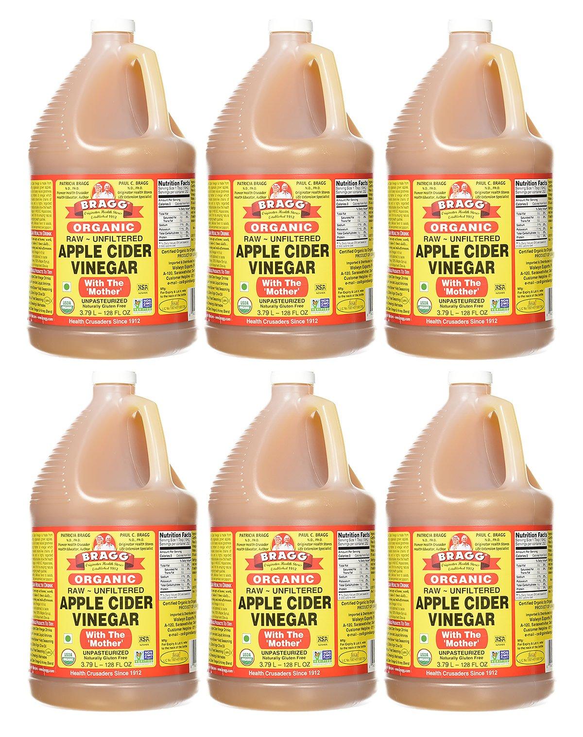 Bragg Organic Raw Apple Cider Vinegar, 128 Ounce, 6 Gallons