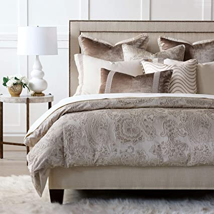 Neutral Bedding Sets King.Amazon Com Eastern Accents Helena Luxury Taupe Glam Velvet