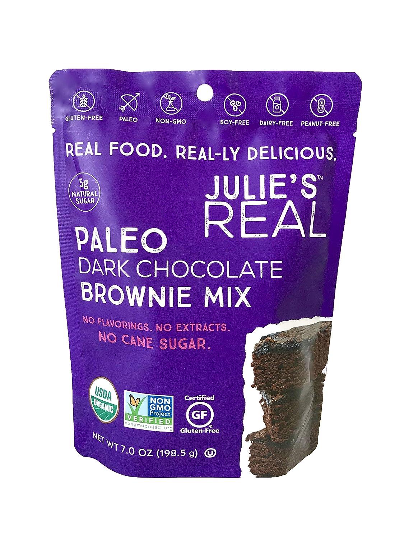 Julie's Real Certified USDA Organic Paleo Dark Chocolate Brownie Mix - Gluten-Free, Non-GMO, Vegan, No Cane Sugar - 3-Pack