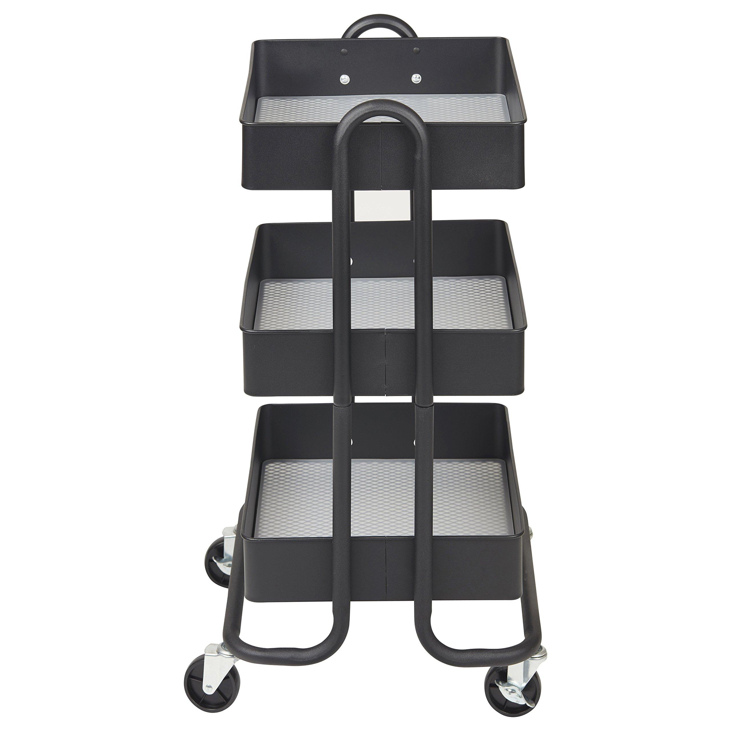 ECR4Kids 3-Tier Metal Rolling Utility Cart - Heavy Duty Mobile Storage Organizer, Black by ECR4Kids (Image #2)