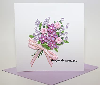 Amazon Com Handmade Quilling Card Happy Anniversary Card Office