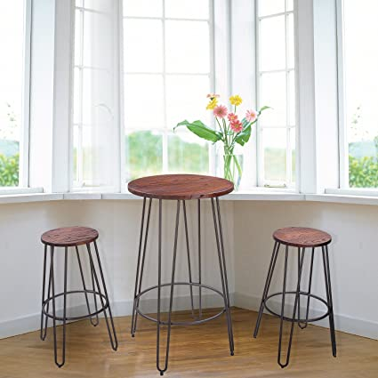 GentleShower 3 Piece Wood Round Bar Table Set 42u0026quot; Pub Table With  30u0026quot; Height
