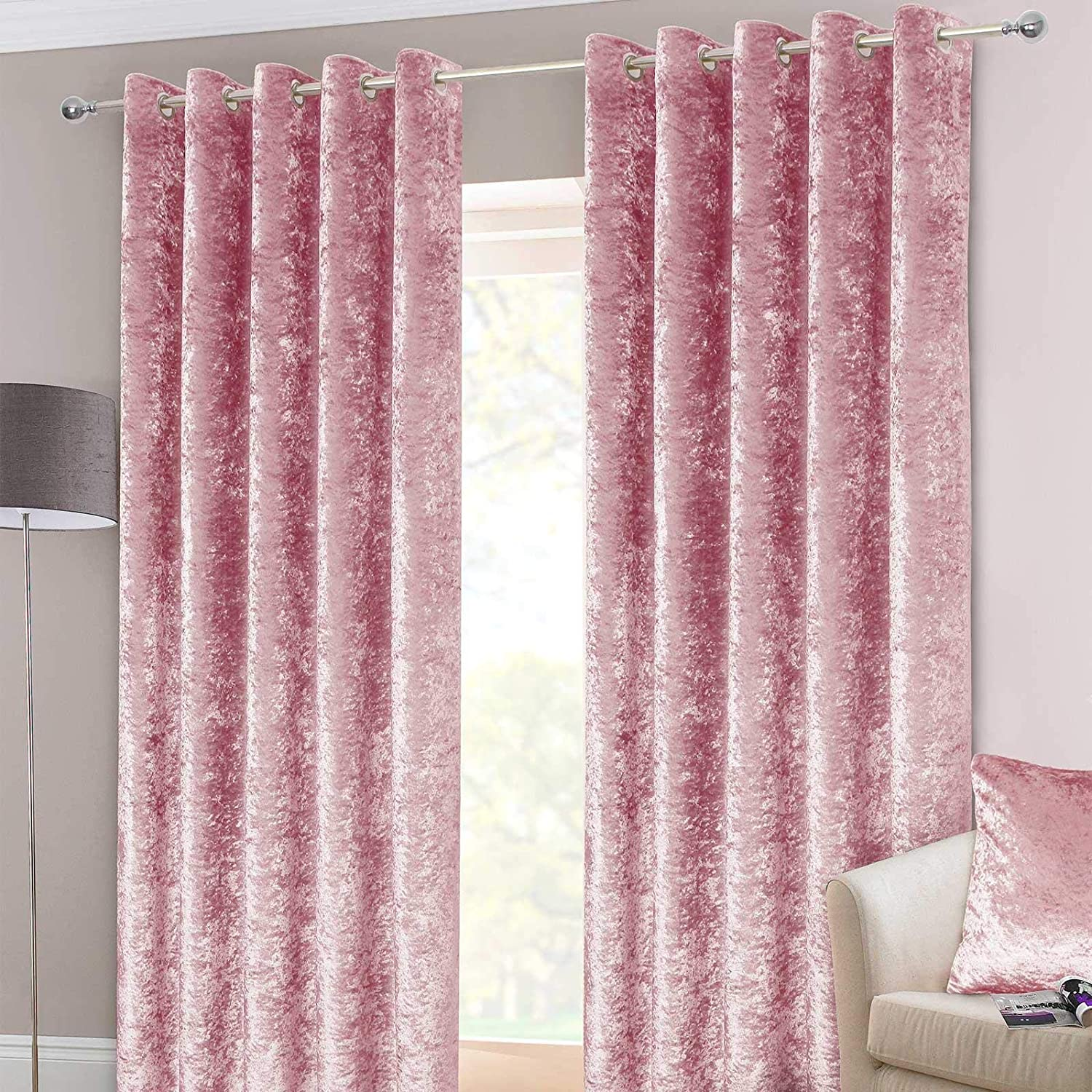 """HOMESCAPES Pink Crushed Velvet Lined Curtain Pair 90 x 90"""" (229 x 229 cm) Heavy Weight Contemporary Neutral Eyelet Curtains Curtain Pair 90x90"""" Pink"""