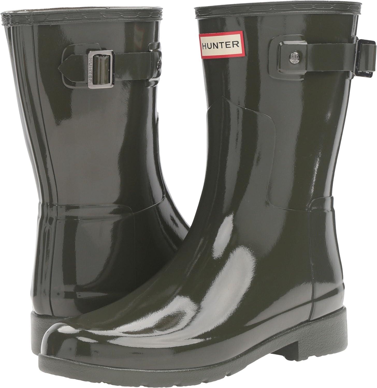 Hunters Boots Women's Original Refined Short Gloss Boots B01FLRJXNQ 6 B(M) US|Dark Olive