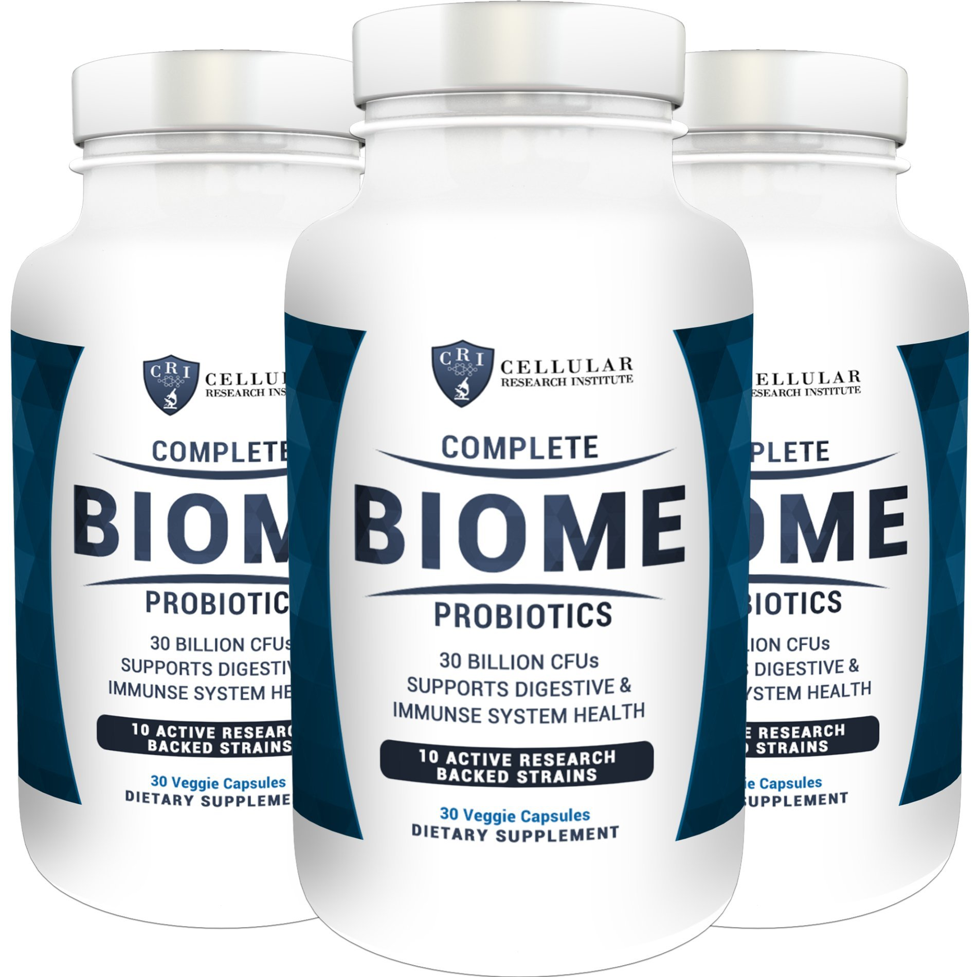 Complete Biome Probiotics - 30 Billion CFUs and 10 Active Strains - Stomach Relief - Boost Your Immunity - Mental Clarity - Lower Fatigue - 90 Money Back Guarantee (3 - Pack)