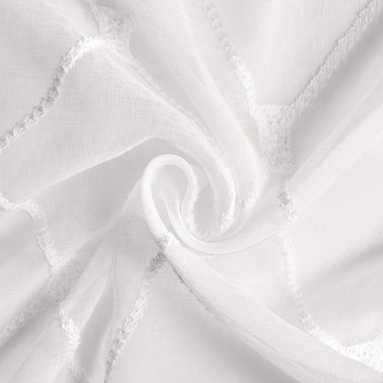 Pliegue De L/ápiz 140cm X 215cm 2 par,Blanco Topfinel Bordado Diamante Voile De Gasa Paneles De Ventana Escarpada De Cortina para Un Dormitorio Sala De Estar