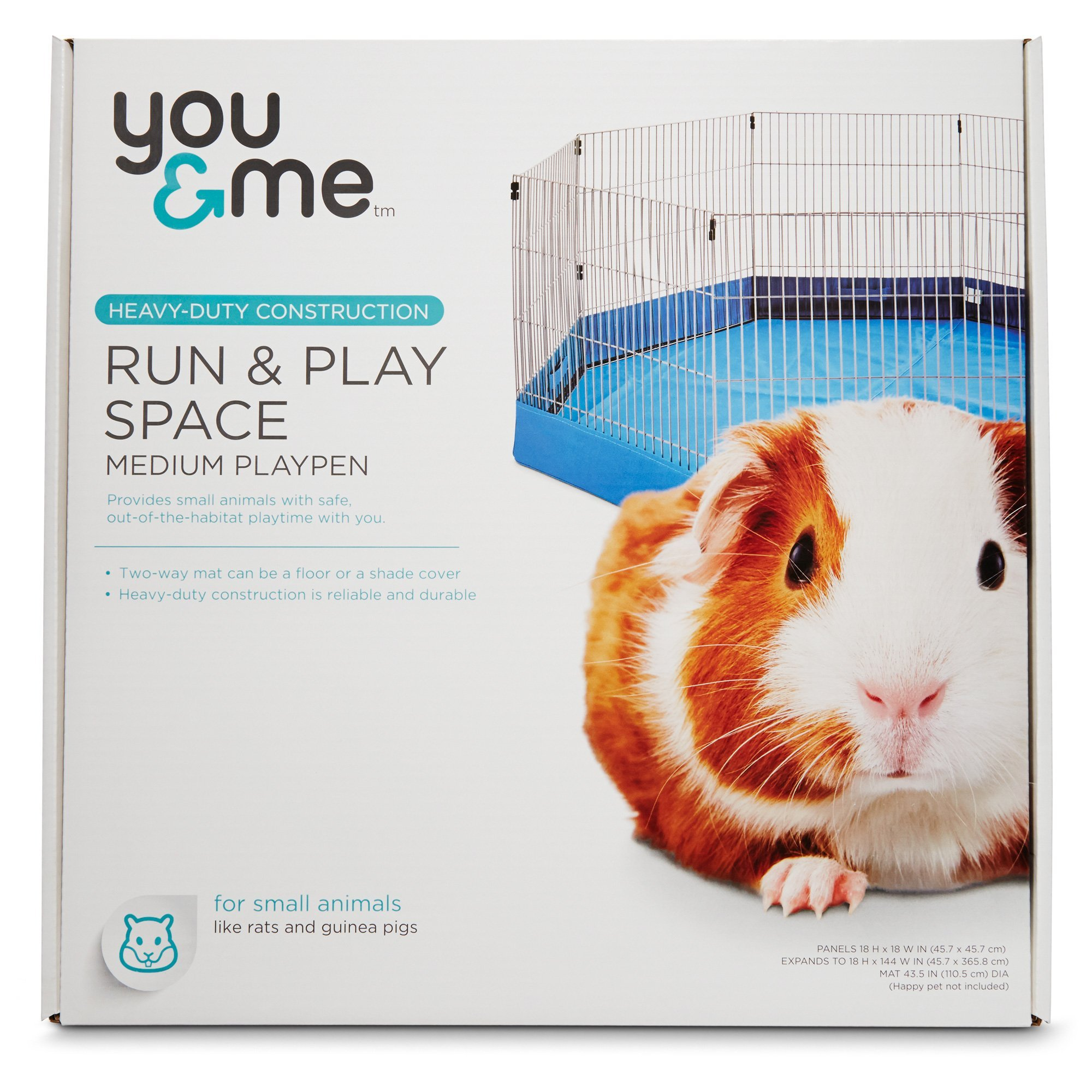 You & Me Run & Play Space Small Animal Playpen, Medium, Blue