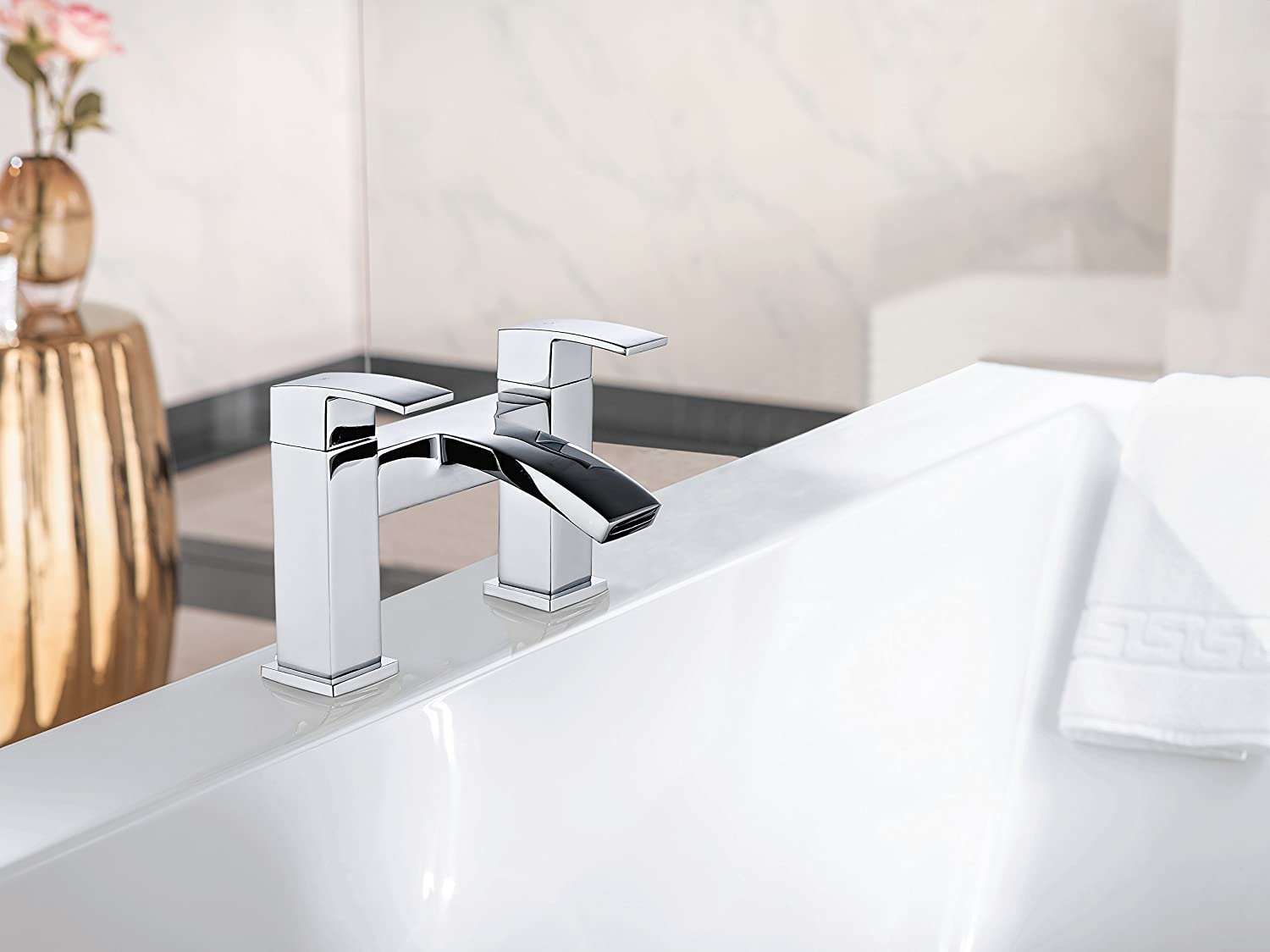 Square Curved Chrome Basin | Bath Filler | Shower Mixer Taps Solid Brass (Basin Mixer & Waste) Tailored-Plumb