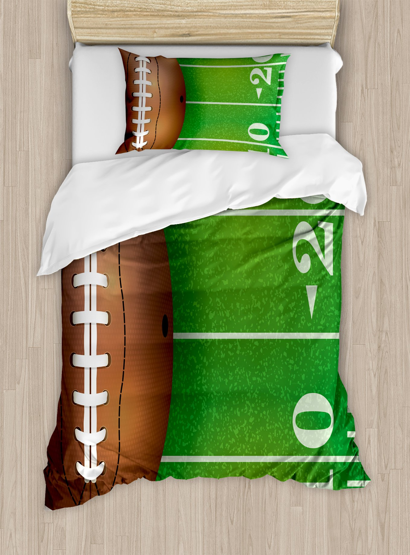 Lunarable Boy's Room Duvet Cover Set Twin Size, American Football Field and Ball Realistic Vivid Illustration College, Decorative 2 Piece Bedding Set with 1 Pillow Sham, Green Brown White