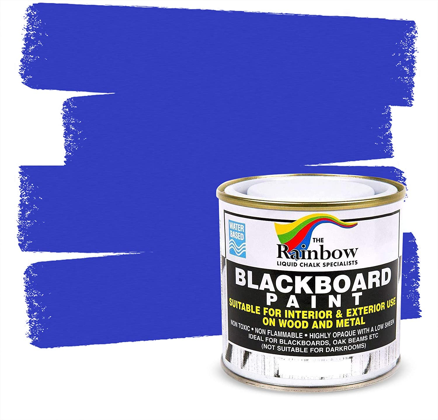 Chalkboard Blackboard Paint - Blue 8.5oz - Brush on Wood, Metal, Glass, Wall, Plaster Boards Sign, Frame or Any Surface. Use with Chalk Pen Wet Erase, Safe and Non-Toxic - Matte Finish