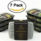 Quantahome 3 Compartment Portion Control Bento Reusable, Freezer safe, Microwave, dishwasher, Meal Prep, Lunch Box, Food Storage Containers with Lids - Set of 7