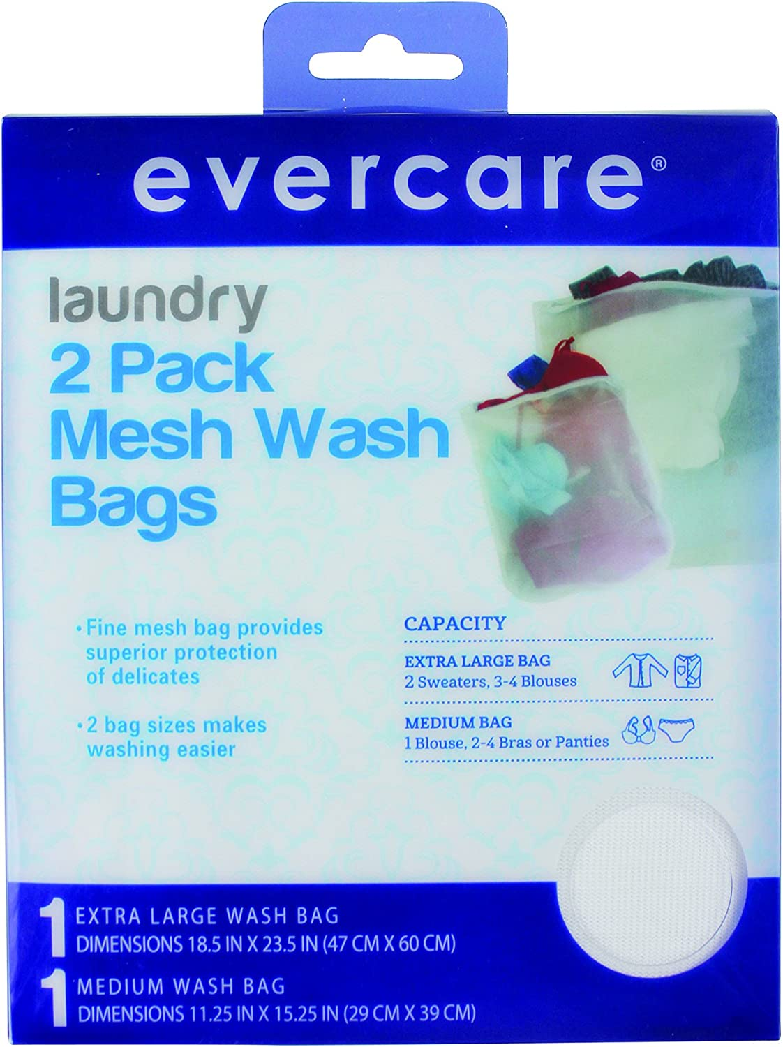 EverCare 617725 Laundry 2 pack Mesh Wash Bags superior protection of delicates two bag sizes