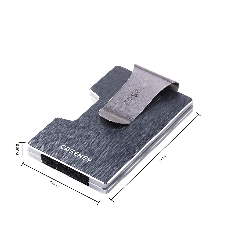 CaseKey Portefeuille en m/étal Minimaliste avec Fermeture RFID pour Cartes de cr/édit et de cr/édit