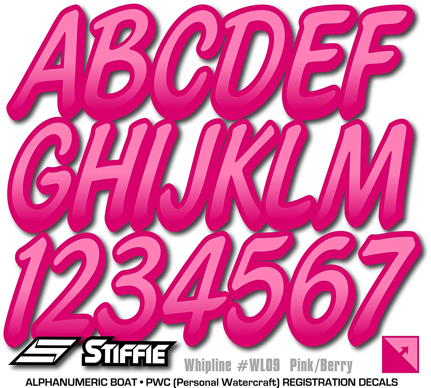 Stiffie Whipline Pink//Berry 3 Alpha-Numeric Registration Identification Numbers Stickers Decals for Boats /& Personal Watercraft .