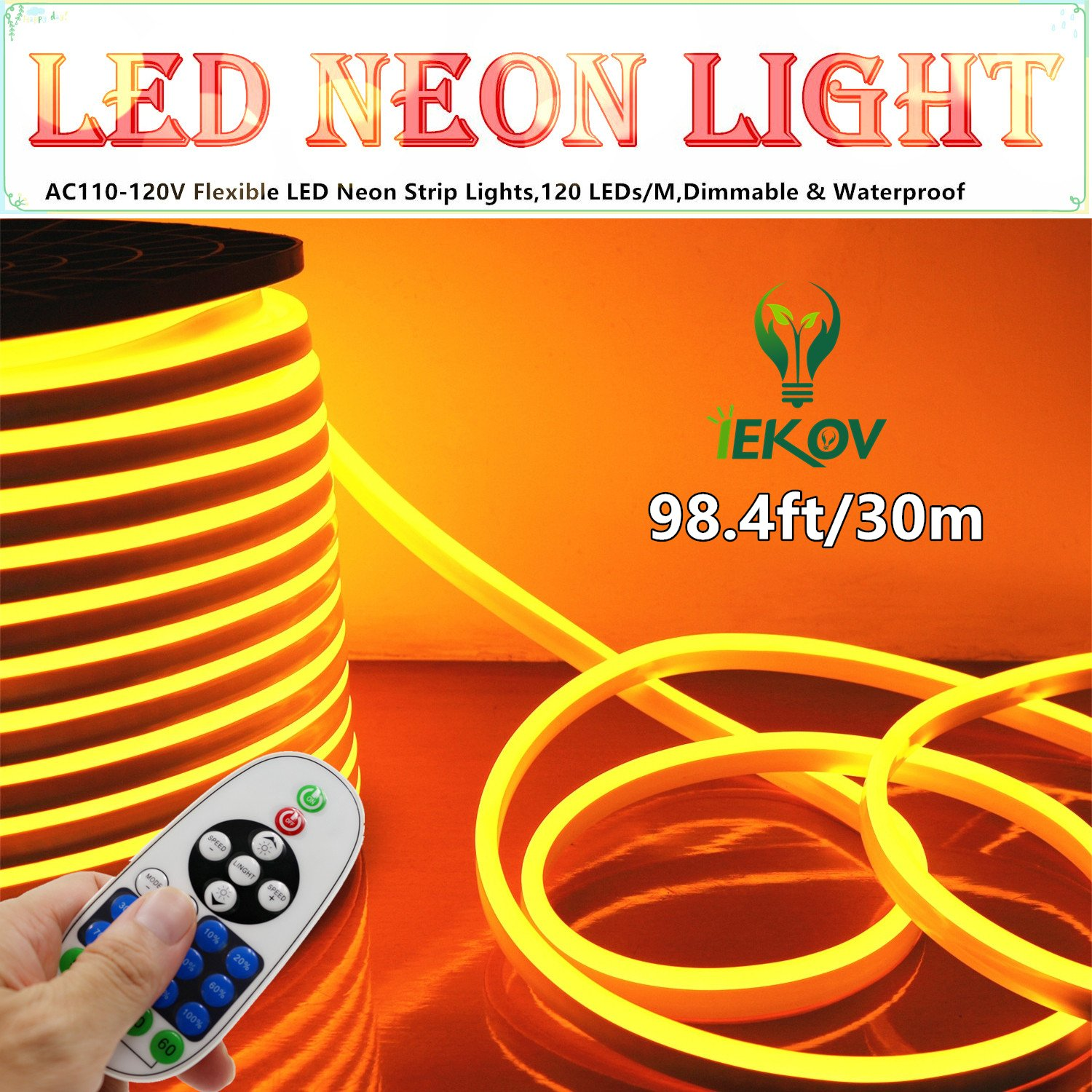 LED NEON LIGHT, IEKOV™ AC 110-120V Flexible LED Neon Strip Lights, 120 LEDs/M, Dimmable, Waterproof 2835 SMD LED Rope Light + Remote Controller for Party Decoration (98.4ft/30m, Golden Yellow) by IEKOV