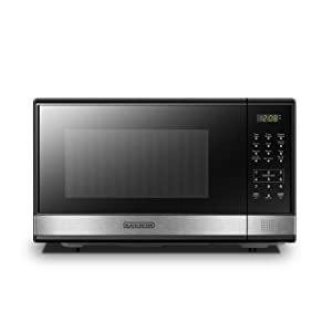 BLACK+DECKER EM031MB11 Digital Microwave Oven with Turntable Push-Button Door,Child Safety Lock,1000W,1.1cu.ft,Stainless Steel 1.1 Cu.Ft
