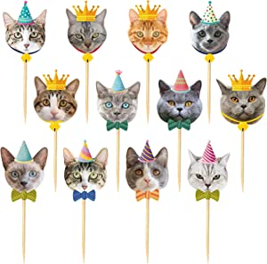 TSJ 24PCS Cat Cupcake Toppers, Cats Face Cake Toppers, Kitten Pet Theme Decorations Stick Toothpicks Supplies for Party Baby Shower