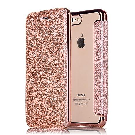 iPhone 8Plus Leather Funda, MAOOY Carcasa Piel Bling Glitter Cierre para iPhone 7Plus, Cubierta de Alta Calidad con Enchapado Claro de Goma Blando ...