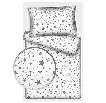2 tlg.Renforcé Kinder Bettwäsche 135x200 cm Mond Sterne Bär Wolke 100/% Baumwolle